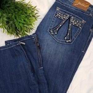 Seven 7 denim bling zipper skinny leg denim jeans